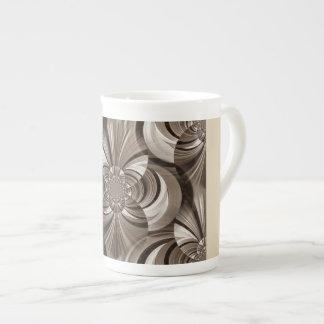 La sepia remolina taza de la porcelana de hueso