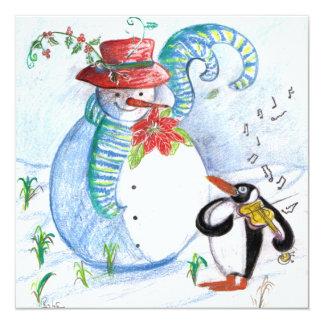 La SERENATA del PINGÜINO, negro blanco azul rojo Invitaciones Personalizada