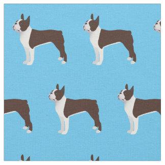 La silueta del perro de Boston Terrier tejó la Tela