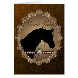 La silueta hermosa del caballo occidental le tarjeta de felicitación