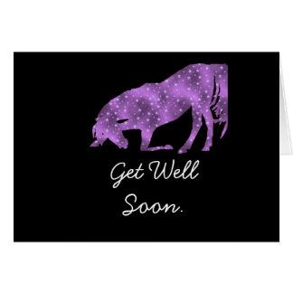 La silueta púrpura del caballo consigue pronto la  tarjeta de felicitación