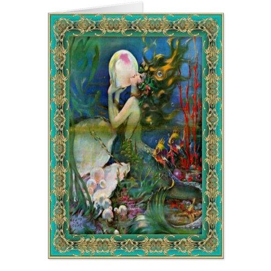 La sirena de la perla tarjeta de felicitación