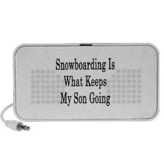 La snowboard es qué guarda mi ir del hijo iPod altavoz