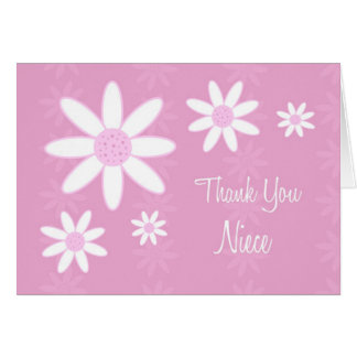 La sobrina de las flores del rosa le agradece tarj tarjeta de felicitación