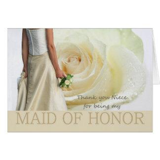 La sobrina le agradece criada del rosa blanco del  tarjeta de felicitación