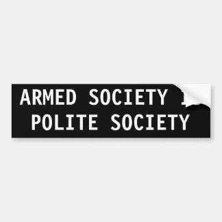 La sociedad armada es sociedad educada etiqueta de parachoque