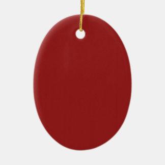 La sombra roja en blanco de la plantilla añade adorno navideño ovalado de cerámica