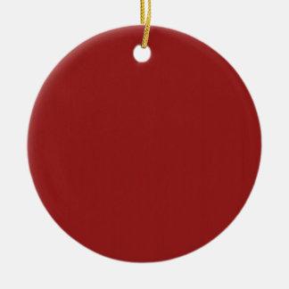 La sombra roja en blanco de la plantilla añade adorno navideño redondo de cerámica
