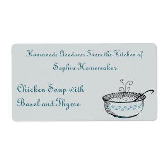 La sopera de sopa con el corazón cerúleo acentúa etiquetas de envío