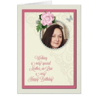 La suegra, añade una foto, cumpleaños con un color tarjeta de felicitación