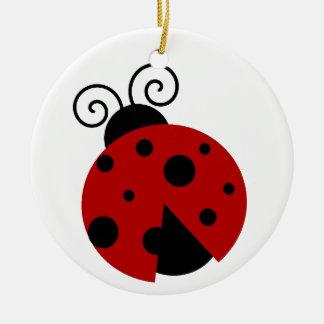 La suerte sea un dibujo animado de la mariquita ornamentos de navidad