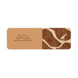 La superficie del modelo de la piel de la jirafa etiqueta de remitente