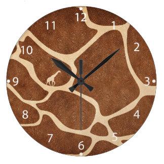 La superficie del modelo de la piel de la jirafa reloj redondo grande