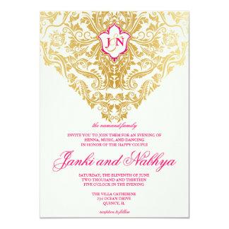 La suposición prospera el boda árabe indio de oro invitación 11,4 x 15,8 cm