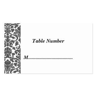 La tabla numera el damasco negro blanco tarjetas de visita