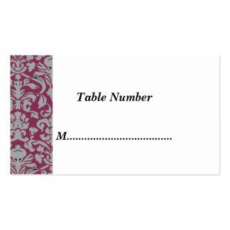 La tabla numera el damasco rojo clásico tarjetas personales