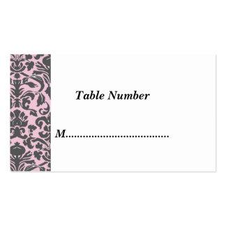 La tabla numera el damasco rosado clásico plantilla de tarjeta de negocio
