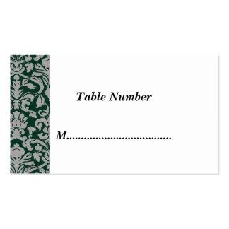 La tabla numera el damasco verde clásico tarjetas de visita