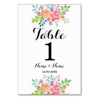 La tabla numera el Watercolour del boda elegante