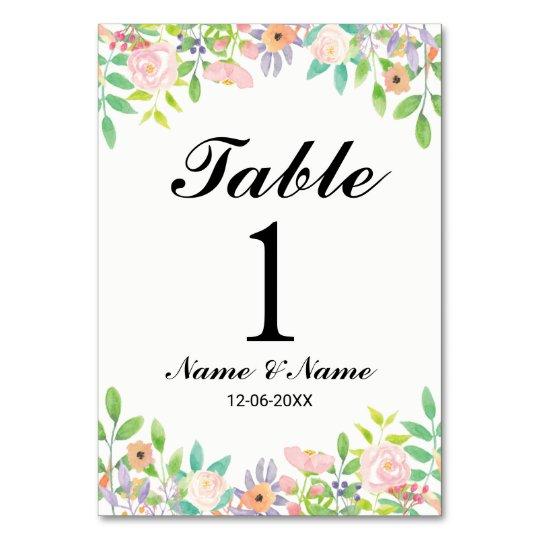 La tabla numera el Watercolour del boda elegante Tarjeta
