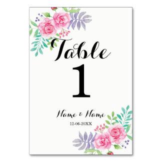 La tabla numera las flores subiós Watercolour del