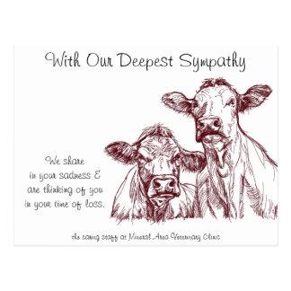 La tarjeta de condolencia veterinaria acobarda postal