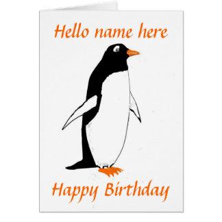 La tarjeta de cumpleaños del pingüino añade nombre