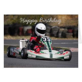 La tarjeta de cumpleaños del va a karting la raza