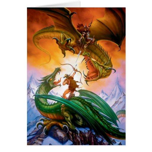 La tarjeta de felicitación del dragón del duelo