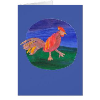 La tarjeta de felicitación del gallo, granja,