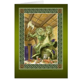 La tarjeta de felicitación verde del caballero