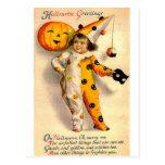 La tarjeta de Halloween del vintage vistió el chic Tarjetas Postales