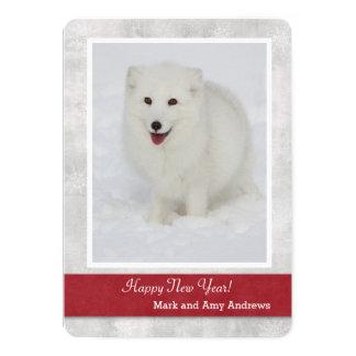 La tarjeta de la Feliz Año Nuevo del Fox ártico