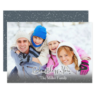¡La tarjeta de Navidad - foto de familia - dios le