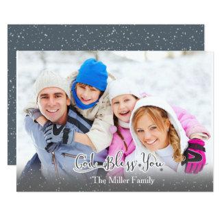 ¡La tarjeta de Navidad - foto de familia - dios le Invitación 12,7 X 17,8 Cm