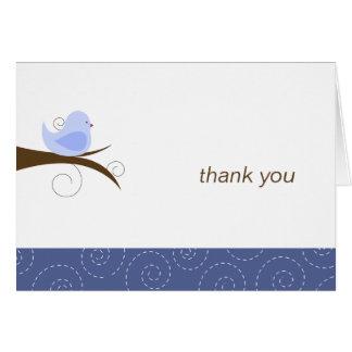 La tarjeta de nota azul del pájaro de Swirly le