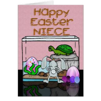 La tarjeta de pascua para la sobrina con el conejo