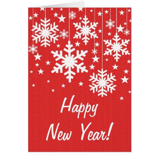 La tarjeta del Año Nuevo de los copos de nieve y