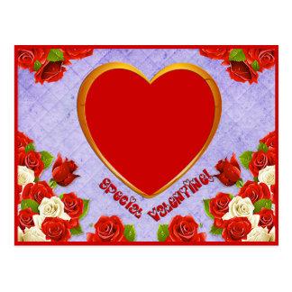 Postal La tarjeta del día de San Valentín, los rosas y el