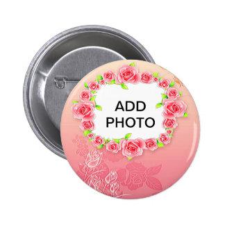 La tarjeta del día de San Valentín rosada de los Chapa Redonda De 5 Cm