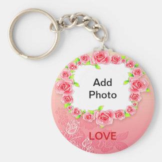 La tarjeta del día de San Valentín rosada de los Llavero Redondo Tipo Chapa