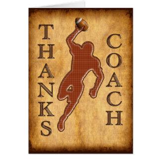 La tarjeta del entrenador de fútbol de las gracias