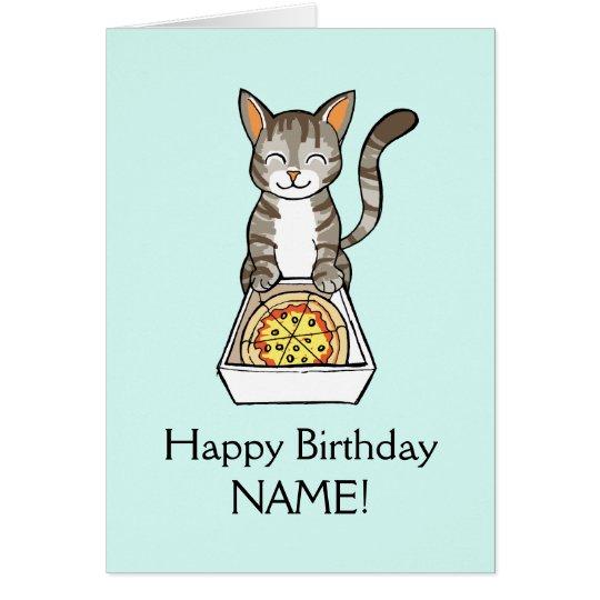 La tarjeta del gato de la pizza del feliz