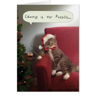 La tarjeta divertida del gato del día de fiesta,