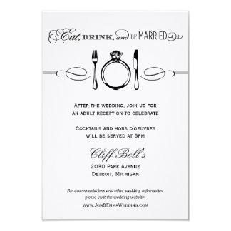 La tarjeta el | de la recepción come, bebida y invitación 8,9 x 12,7 cm