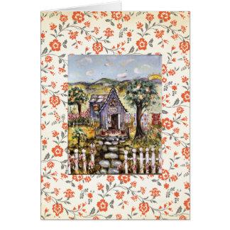 La tarjeta en blanco de la casa de la iglesia