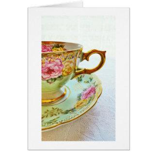 La tarjeta en blanco de la taza de té del vintage