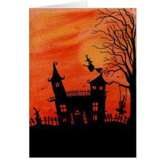 La tarjeta frecuentada de Halloween de la casa de
