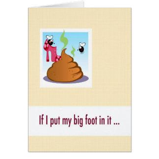 La tarjeta grande de la disculpa de la boca, puso