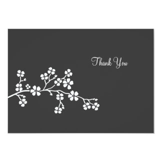 La tarjeta plana de la flor de cerezo de plata le invitación 12,7 x 17,8 cm